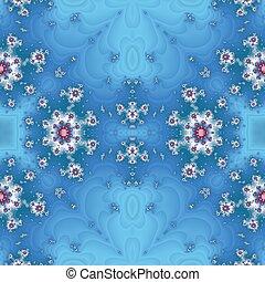 Blue, red fractal background. Tileable wallpaper