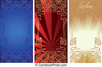 Blue Red Gold Fashion Plate Background Illustration.