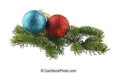 blue, red, golden ball and branch of Christmas tree isolated on white background