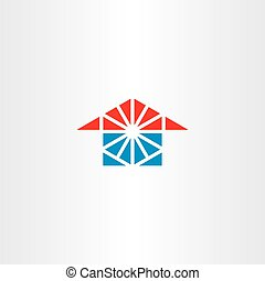 blue red house icon triangle logo