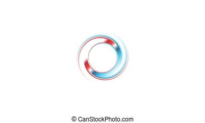 Blue red ring on white background video animation