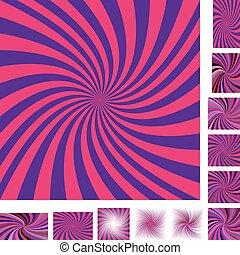 Blue red spiral background set
