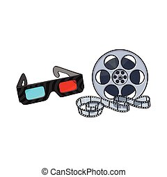 Blue-red stereoscopic, 3d glasses and cinema film reel