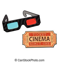 Blue-red stereoscopic, 3d glasses and cinema, movie ticket