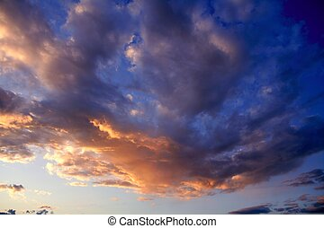 blue red sunset sky background