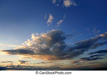 blue red sunset sky background