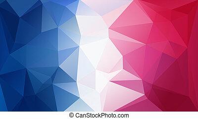 blue-red-white triangular background