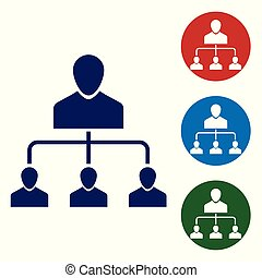 Blue Referral marketing icon isolated on white background. Network marketing, business partnership, referral program strategy. Vector Illustration