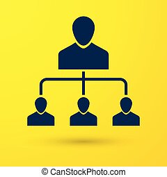 Blue Referral marketing icon isolated on yellow background. Network marketing, business partnership, referral program strategy. Vector Illustration