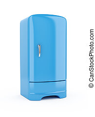 Blue Refrigerator - 3d render of blue refrigerator, isolated...