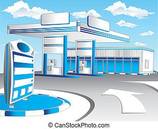 Blue refuel station - Illustration of blue gas refuel ...