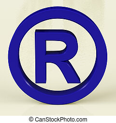 Blue Registered Sign Representing Patented Brands - Blue ...