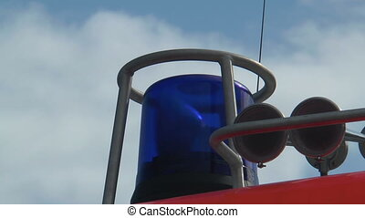 blue rescue light on   fire truck f