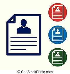 Blue Resume icon isolated on white background. CV application. Searching professional staff. Analyzing personnel resume. Vector Illustration