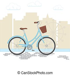 Blue retro bicycle with basket on city background