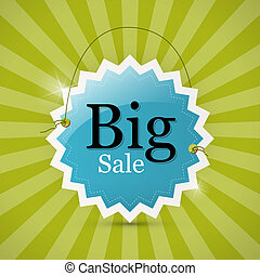 Blue Retro Big Sale Tag - Label on Green Background