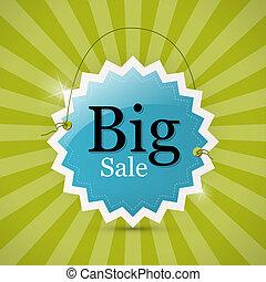Blue Retro Big Sale Tag - Label on Green Background