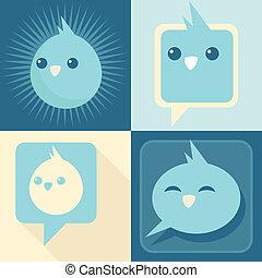 Blue Retro Birds