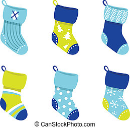 Blue retro Christmas Socks collection isolate on white