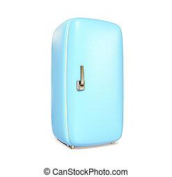 fridge - blue retro fridge on white background isolated