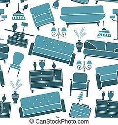 Blue retro interior seamless pattern