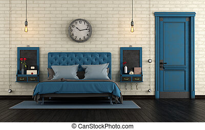Blue retro master bedroom