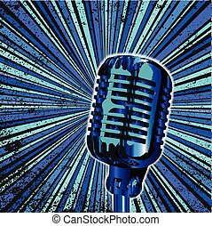 Blue Retro Microphone - Abstract and retro grunge backround...