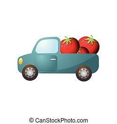 Blue retro pickup with red fresh farm tomato
