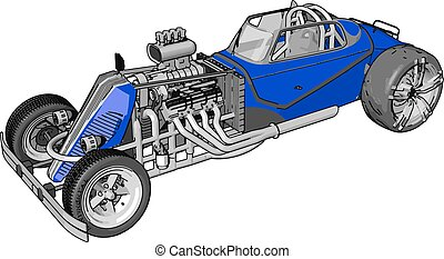 Blue retro racing car, illustration, vector on white background.
