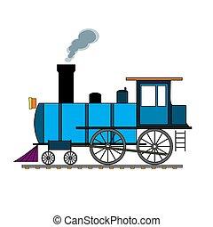 Blue retro steam train on white background.
