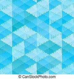 Blue retro textile triangles seamless pattern