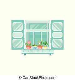 Blue retro window with shutters and flowerpots, architectural design element vector Illustration on a white background