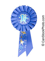 Blue Ribbon 1st Place - A blue ribbon on a white background...
