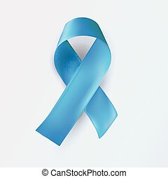 Blue ribbon, abstract medical symbol. World illness awareness day symbol. Realistic blue ribbon on white background, vector illustration