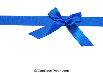 bow - blue ribbon and bow on white background