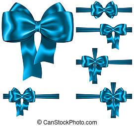 Blue ribbon and bow set