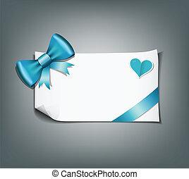 Blue ribbon and white paper design