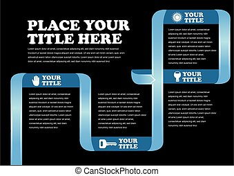 Blue Ribbon and White Text on Black Background Page Layout Design