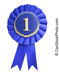 Blue ribbon award blank with copy space. Isolated on white ...