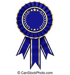 Blue Ribbon Award isolated on white background.