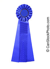Blue ribbon award isolated on white