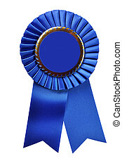 Blue ribbon award blank with copy space. Isolated on white background with clipping path.