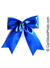 blue ribbon bow isolated