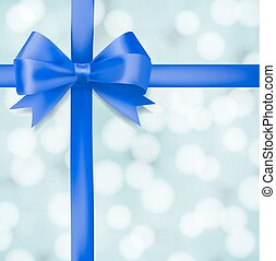 blue ribbon bow on blurry background. greeting vector design template
