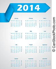 Blue ribbon calendar design for 2014