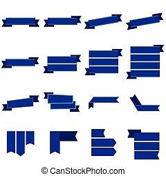 Blue ribbon icons set vector