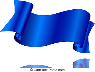 Blue ribbon on a white background
