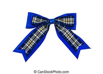 Blue ribbon on white background.
