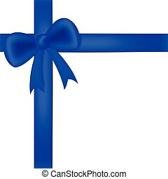 Blue ribbon on white box