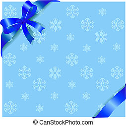 Blue ribbon on winter background